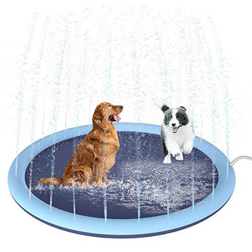 Almohadilla de Riego de Salpicaduras de 59 Pulgadas para Perros Niños Baño de Perro Engrosado Y Duradero Bañera de Baño para Mascotas Verano Estera de Agua Al Aire Libre Juguetes Estera