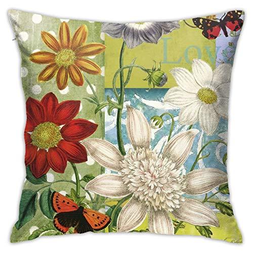 ETHAICO Funda de almohada decorativa de felpa, girasoles, cómoda funda de cojín para sofá, 45,7 x 45,7 cm