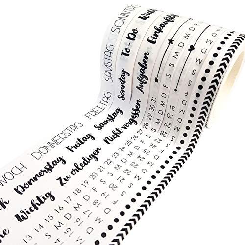 Papierdrachen 9 Washi Tapes für Dein Bullet Journal | Handlettering | Wochenplan und Tage einfach aufkleben | to Do | Aufgaben | Einkaufsliste | Ideal für Anfänger und Profis