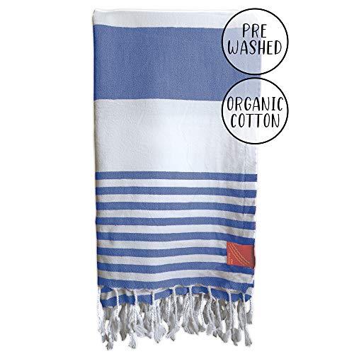 Club Kokomo Turkish Beach & Bath Towel - Eco Friendly Quick Dry Towel - XL 100% Organic Cotton Peshtemal Towel - 37x69 - Sand Free & Sustainable Beach, Bath, Travel, Gym, Spa Towel or Blanket