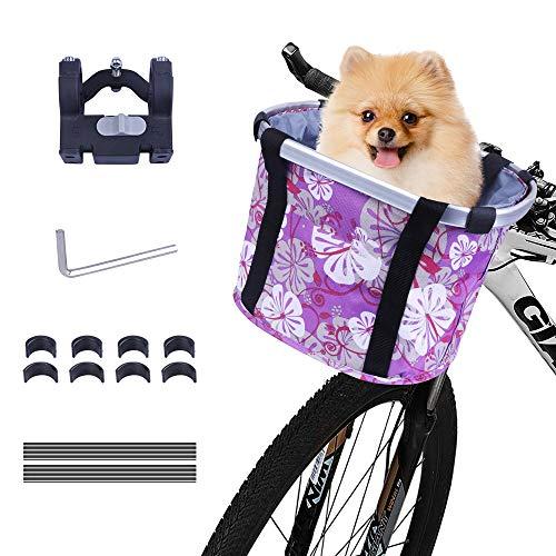 Faltbar Fahrrad vorne Korb, Fahrradkorb vorne, mit Lenkeradapter, Einkaufstasche mit Bequemen Schultergurten,Easy Install Abnehmbare Lenkerkorb Tasche für Kleiner-Hunde/Katzen-Einkaufen-Picknick