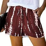 Pantalones Cortos de Cintura elástica con cordón Informal de Verano para Mujer Large