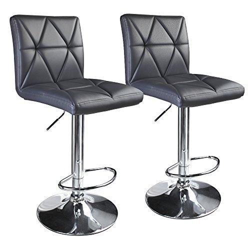 Leader Accessories Modern Swivel Grey Bar Stool Diagonal Line, Hydraulic Adjustable Bar Stools,Set of 2
