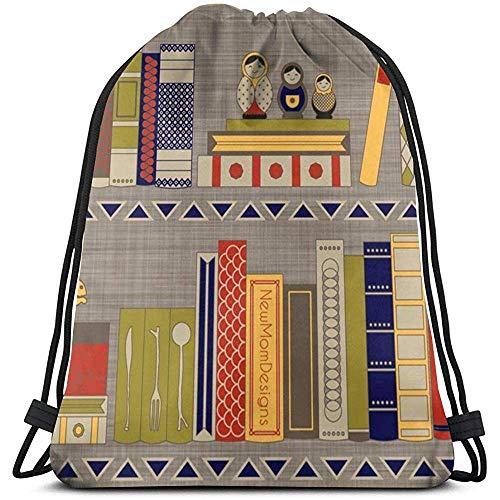 Turnbeutel,Bücher Mein Bücherregal String Rucksack Tasche, Leichte Tragbare Kordelzug Reisetaschen Zum Klettern Wandern Reisen