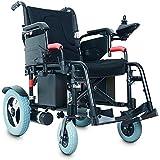 DBXOKK-Wheelchair 2019 Nuevo Modelo de Silla de Ruedas eléctrica - La Mejor batería de Litio Plegable y Liviana de Alta Resistencia Energía eléctrica, aleación de Titanio aeroespacial (Azul), Negro