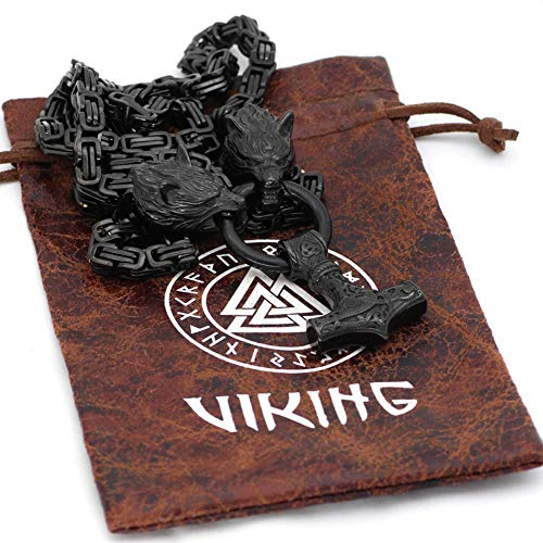 YABEME Viking Wolf Head Thor's Hammer Pendant Necklace Stainless Steel Byzantine King Chain Nordic Mythology Celtic Pagan Amulet Jewelry Mens Ladies Classic Vintage Gift,26inch