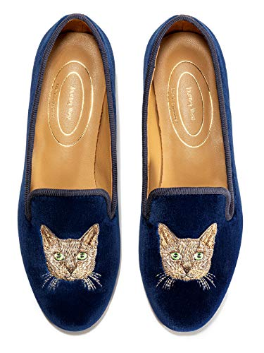 Journey West Women's Loafer Flat Velvet Embroidery Smoking Slippers Slip on Shoes for Women Cat Navy Blue US 7