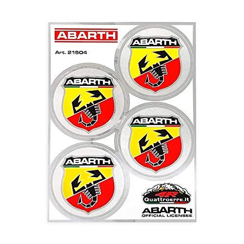 Abarth - 21504 - Adesivi Copriruota Ufficiali, 4 Scudetti, Diametro 48 mm