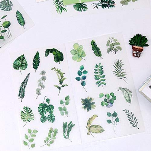 6 Stück/Set Süße grüne Blatt Aufkleber Briefpapier Aufkleber Persönlichkeit Aufkleber Süße Clipart Tagebuch Dekoration Aufkleber Kunstzubehör