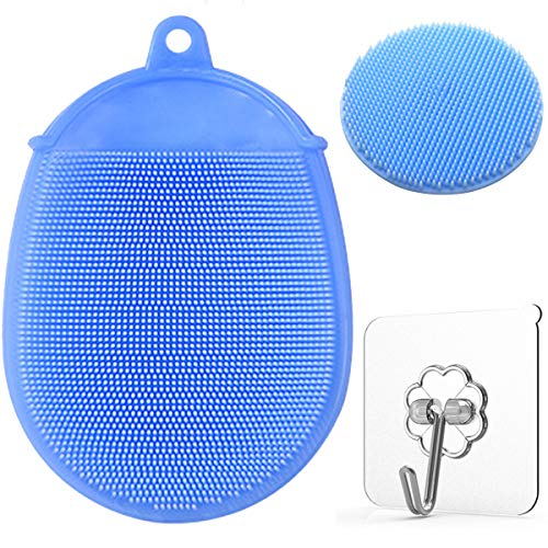 Toddler Silicone Body Bath Brush | The Bath Mitt | Quick-Dry Replacement to Kids Washcloth | Fits Both Parent or Child for Early Stage Development (Blue)