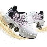 HealHeatersⓇ Patines De Ruedas Retráctiles para Mujer Zapatos De Patinaje para Deportes Al Aire Libre Zapatos Multifuncionales De Deformación para Hombres con Ruedas
