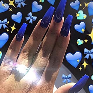 Skyvan 24 PCS 12 Sizes Ballerina Jelly Sapphire Press On False Nails Glue On Nails with Glue and Adhensive Tab