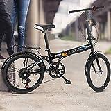 Urban Commuting Bike, 20 Inch 7 Speed City Folding Mini Compact Bike, Urban Leisure Bicycle, High Tensile Steel Folding Frame V Brake Road Bike