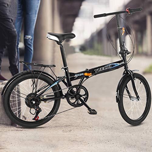Karymi Outdoor Road Bike Mountain Bike for Men Women, Leisure 20in 7 Speed City Folding Mini Compact Bike Bicycle Urban Commuters Adult Student Bicycle