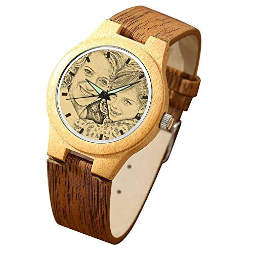 Alskafashion Reloj de Madera Personalizado con Foto o Mensaje Grabado de Doble Cara para Hombres, Mujeres, cumpleaños, Navidad, día del Padre, Regalo (Marrón Claro)