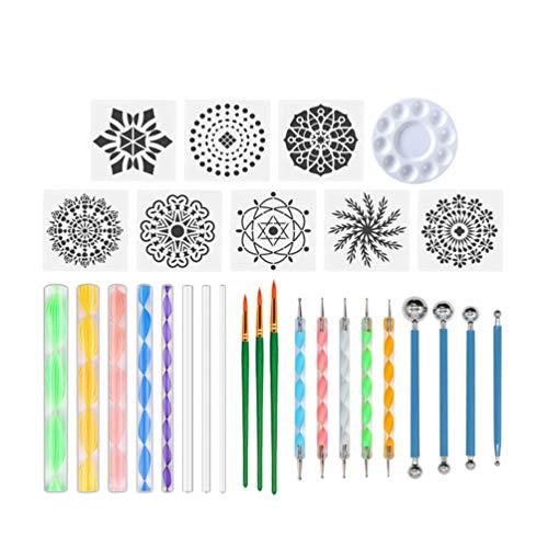 Supvox 29Pcs Mandala Dotting Tools Set Herramientas de Pintura de Plantilla para Pintar Rocas