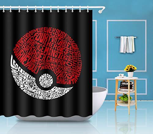 gwegvhvg Pokemon Ball Duschvorhang, 12 Haken, 183 x 183 cm, Rot / Weiß