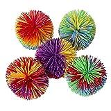 Hibery 5 Pack Monkey Stringy Balls, Great Sensory Fidget Toys, Rainbow Pom Bouncy Stress Balls Games Fun Party Favor