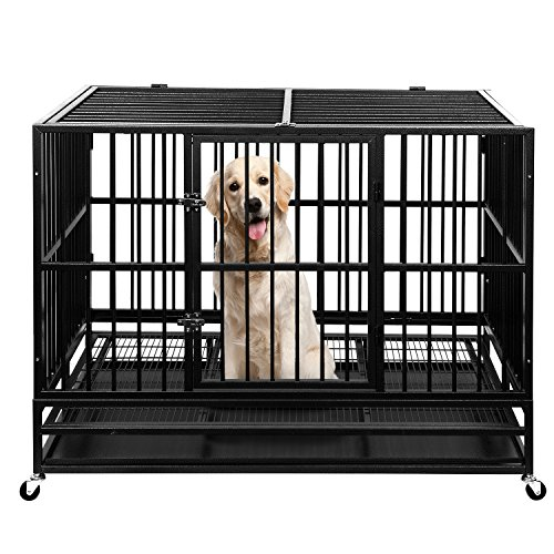 """Ainfox 48"""" Heavy Duty Metal Dog Crate, Large Double Door Folding Strong Dog Pet Kennel Cage Tray, Fits Large Dog Breeds Basic Crates"""