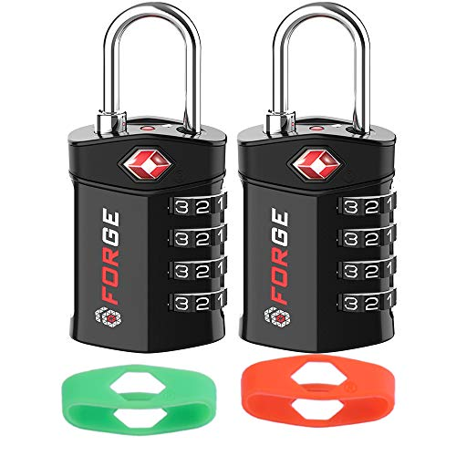 4 Digit TSA Approved Luggage Lock, 2 Pack Black with 2 Extra bands, Change Your Own Color and Combination, Inspection Indicator, Alloy Body