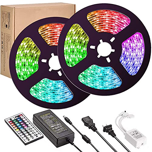 LED Strip Lights,UMICKOO Upgraded 10M/32.8feet Flexible Strip Light SMD 5050 RGB 300 LEDs with 44 Key Remote Controller, Multi-Color Changing Light Strips for Ceiling Bar Counter Cabinet Decoration