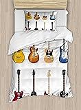 Juego de funda de edredón para guitarra, amplia variedad de instrumentos de cuerda, diseño musical realista, jazz bluescoustic, juego de cama decorativo de 2 piezas con 1 almohada, color marrón negro
