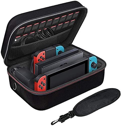 Funda para Nintendo Switch - LYCEBELL Funda de viaje para Nintendo Switch Consola, Joy&Con Grip, Pro Controller y 18 Cartuchos de Juegos