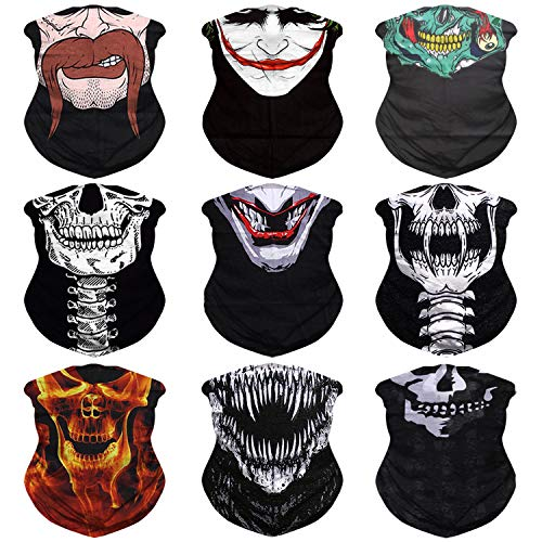 JOEYOUNG Headwear, Bandana Neck Gaiter Face Cover Mask Scarf Balaclava pack of 9