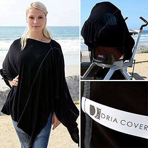 Dria Couverture d'allaitement – Style Milano – Tissu modal Lenzing – Noir – La couverture d'allaitement tout-en-un tendance