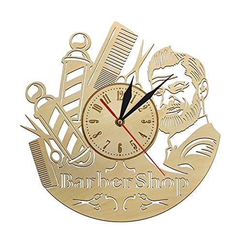 Reloj de Pared Peluquería Reloj de Pared de Madera Hecho a Mano Peluquería Tienda de Corte de Pelo Accesorio de peluquería Letrero de Madera para peluquería Regalo Decoración de Pared