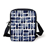 FAFANIQ Dark Blue,Watercolor Brush Strokes Uneven Spots Stains Texture Abstract Hand Drawn Art,Dark Blue Dust Print Kids Crossbody Messenger Bag Purse