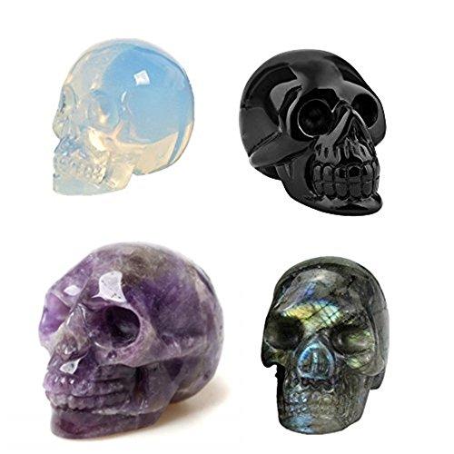 AITELEI 2' Nature Hand Carved Gemstone Skull Statue,Healing Crystal Stone Human Reiki Skull Figurine Statue Sculptures