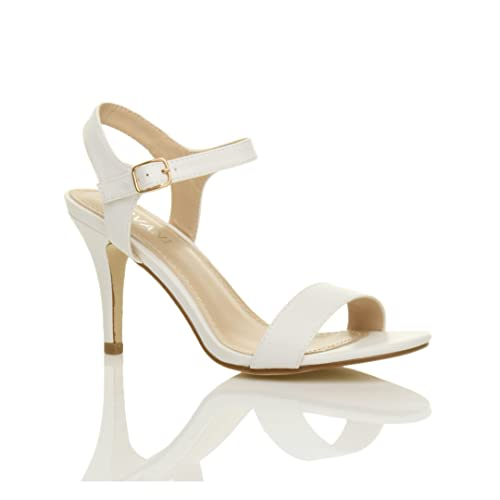 dc3a8f340 Ajvani Womens Ladies mid high Heel Strappy Barely There Party Wedding Prom  Sandals Shoes Size
