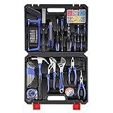 LETTON Ensemble de 37 outils de ménage généraux avec boîte à outils en plastique