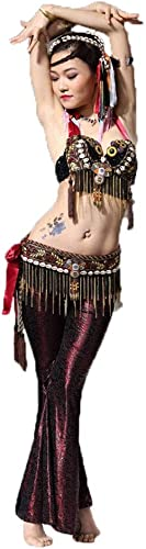 CX Ensemble De Perforhommece De Costume De Vent Tribal De Danse du Ventre pour Femme Adulte