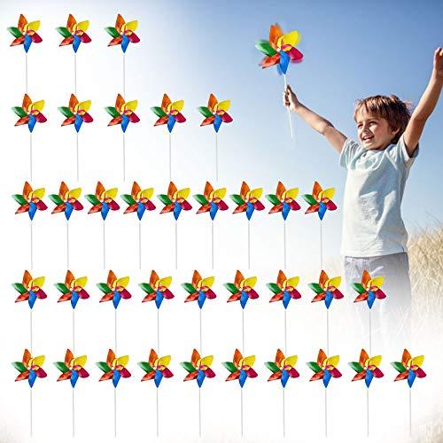EMAGEREN 36 Stücke Windräder Bunt aus Kunststoff Windräder Set Party Dekoration Kinderwindmühle Party Spielzeug Mitgebsel Windmühle für Kinder Balkon Terrasse Kindergeburtstage Garten Rasen Dekor