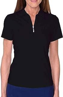 GOLFTINI Women's Short Sleeve Zip Tech Polo - Black