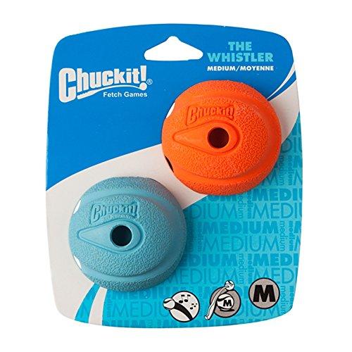 Chuckit Lot de 2 jouets pour chien Balle sifflante 6,5 x 6,5 cm