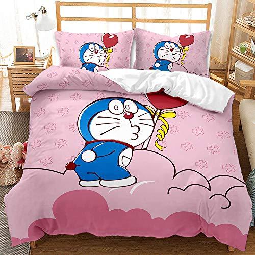Fundas Nordicas Cama 90 Doraemon Rosa Juego de Funda de Edredón de fácil Cuidado Ropa de Cama 150x200 con 2 Funda de Almohada 50x75 - Microfibra
