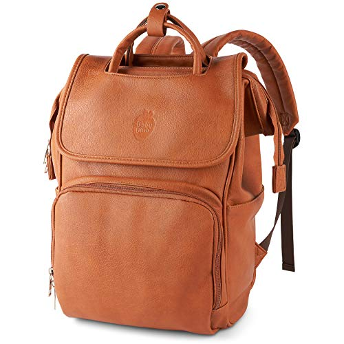 Chic Vegan Leather Change Bag - Unisex Baby Changing Backpack, A Real Mary Poppins Bag with Compartments Galore, Camel Brown