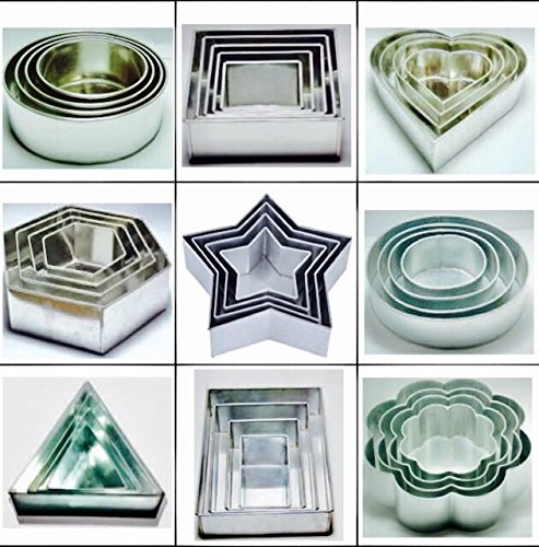 36 pièces Ensemble cadeau de gâteaux anti-adhésifs à 4 étages Moules Taille 15,2 cm, 20,3 cm, 25,4 cm, 30,5 cm – 9 formes