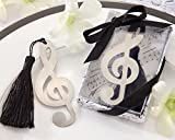 Lote de 20 Elegantes Puntos de Libro NOTA MUSICAL en caja de regalo + lazo - Marcapáginas, puntos libros detalles de bodas