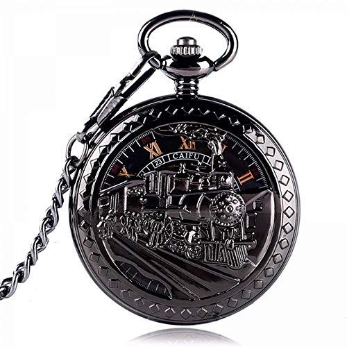 XYSQWZ Reloj De Bolsillo Exquisito Hombre Mujer Negro Corriendo Locomotora Mecánica Esqueleto Mano Viento Reloj Colgante Antiguo