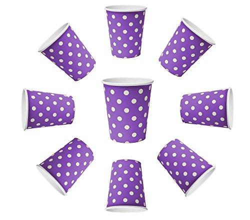 60 vasos desechables de 200 ml, diseño de lunares, color lila, lunares morados, vasos de cartón, vasos desechables para bebidas, aperitivos, bebidas calientes y frías