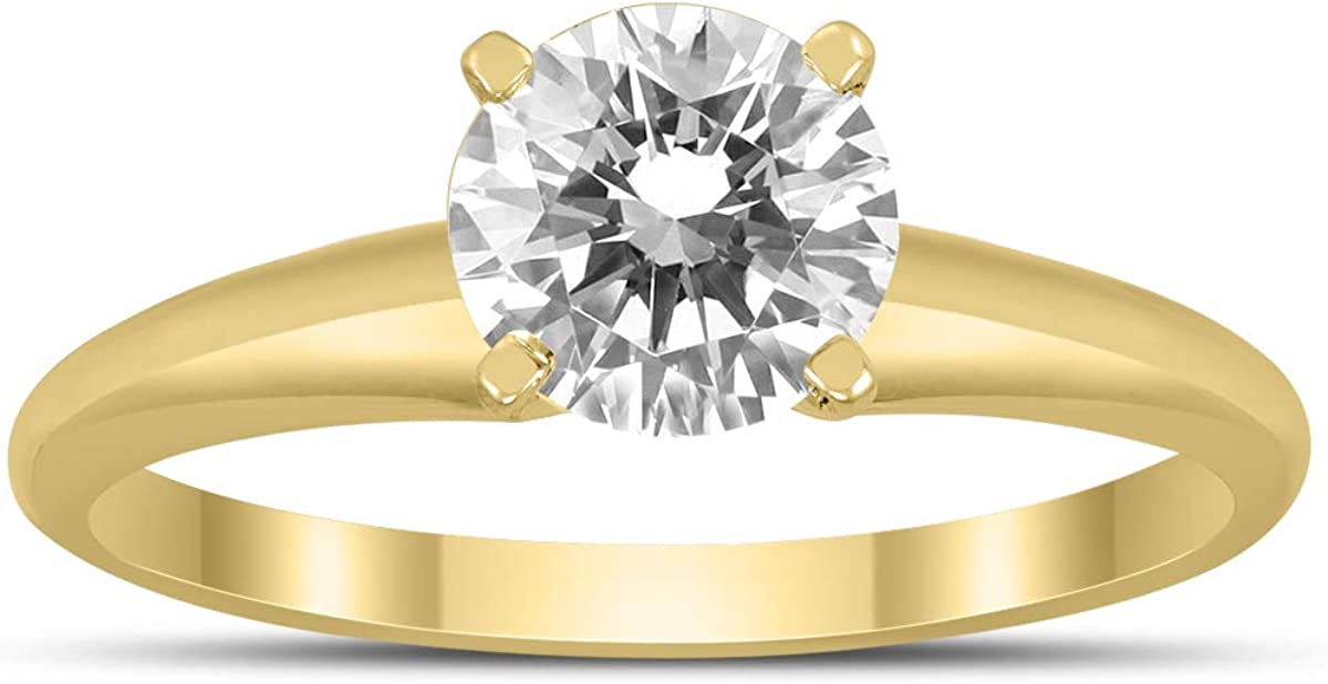 Philadelphia Mall AGS Certified 1 Carat Diamond Solitaire Ring Genuine Yellow 14K Gold in