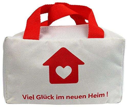 """Lustige Tasche """"Viel Glück im neuen Heim"""" für Geschenke zum Einzug oder Umzug Einweihungsgeschenk Einzugsgeschenk Geschenk zum Richtfest oder Geschenkidee zum Hauskauf Hausbau Wohnung Geldgeschenk"""