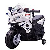 HOMCOM Moto Eléctrica Infantil de Policía Batería 6V Recargable para Niños de 18-36 Meses con Faros Bocina y Ruedas de Equilibrio Velocidad Máx. de 3 km/h 69x39x43 cm Multicolor