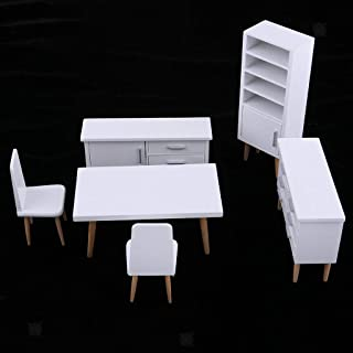 NATFUR 1/12 White End Table Desk Chair Cabinet Bookshelf Dollhouse Living Room Kit