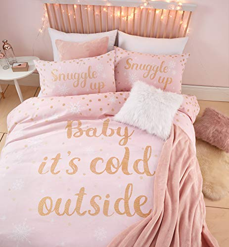 Catherine Lansfield Baby It's Cold Out, set copripiumino singolo, facile da pulire, colore: rosa
