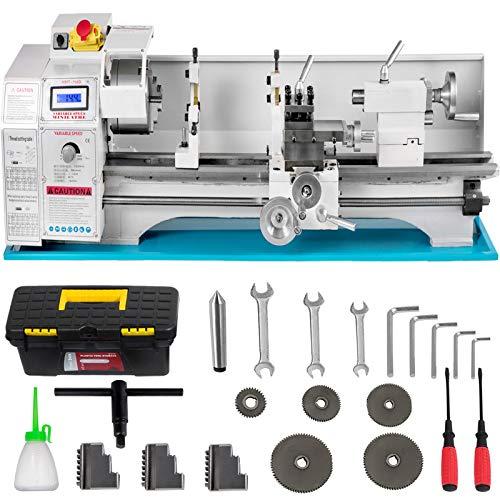 VEVOR Mini Drehbank 220x750mm Drehmaschine Metall 1.1KW Mini Drechselbank für Metallbearbeitung Drehbank Metall präzise einfach zu bedienen